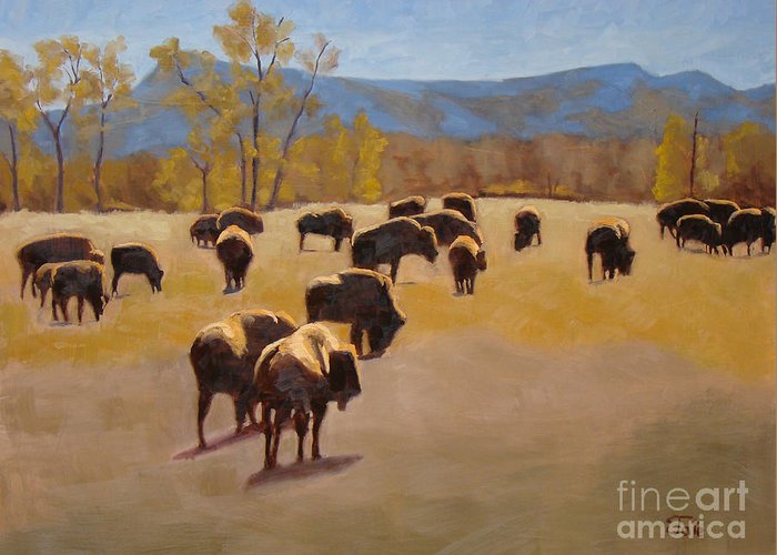 Buffalo Greeting Card featuring the painting Where The Buffalo Roam by Tate Hamilton