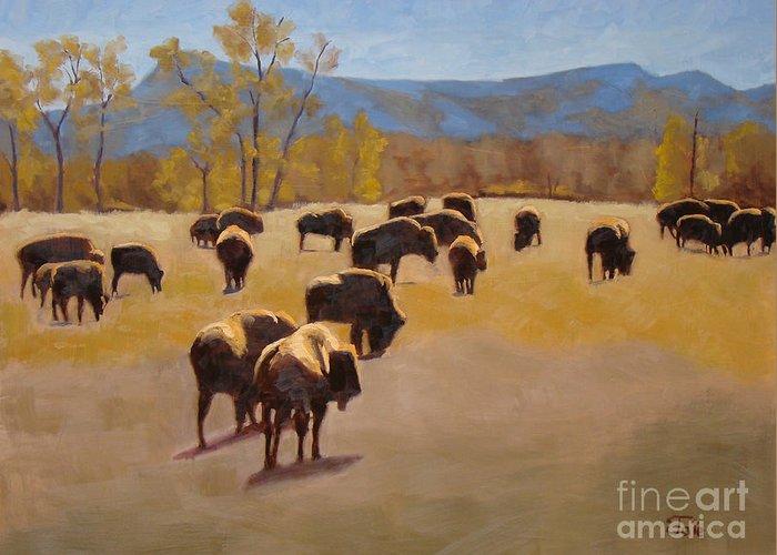 Buffalo Greeting Card featuring the painting Where the buffalo roam by Tate Hamilton