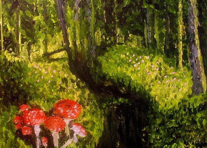 Nature Greeting Card featuring the painting Where The Trolls Live II by Mats Eriksson
