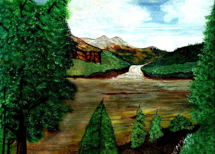Water Greeting Card featuring the painting Where Water Meets by Willie McNeal