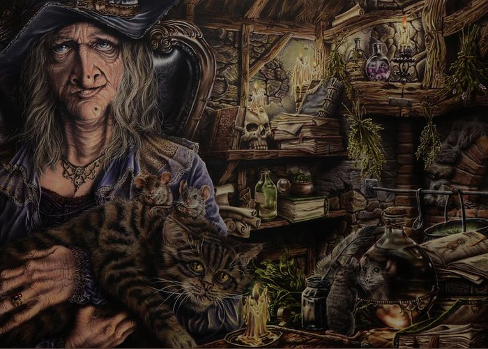 Fantasy Greeting Card featuring the painting Which witch is which by Robert Haasdijk