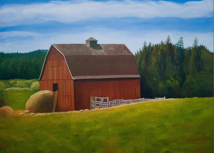 Landscape Greeting Card featuring the painting Whidbey Island Barn by Stephen Degan