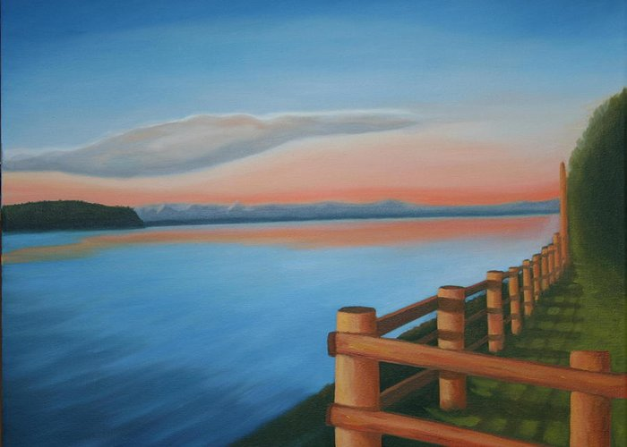 Seascape Greeting Card featuring the painting Whidbey Island Sunset by Stephen Degan