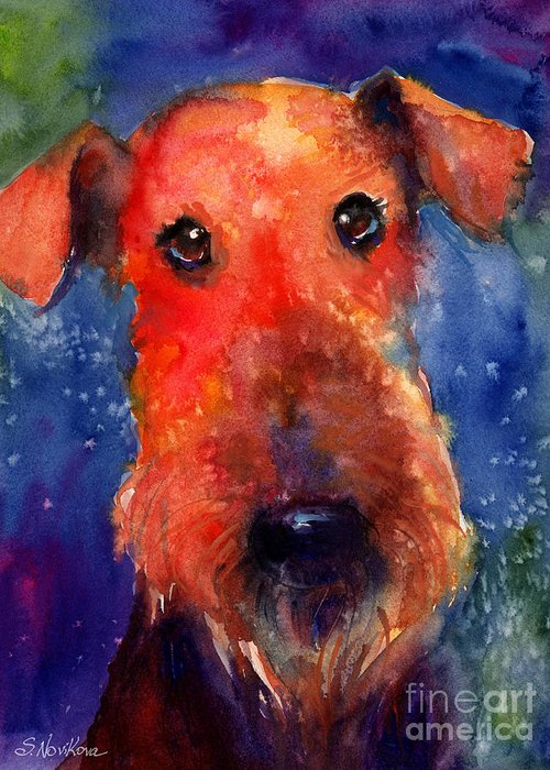 Airedale Dog Painting Greeting Card featuring the painting Whimsical Airedale Dog Painting by Svetlana Novikova