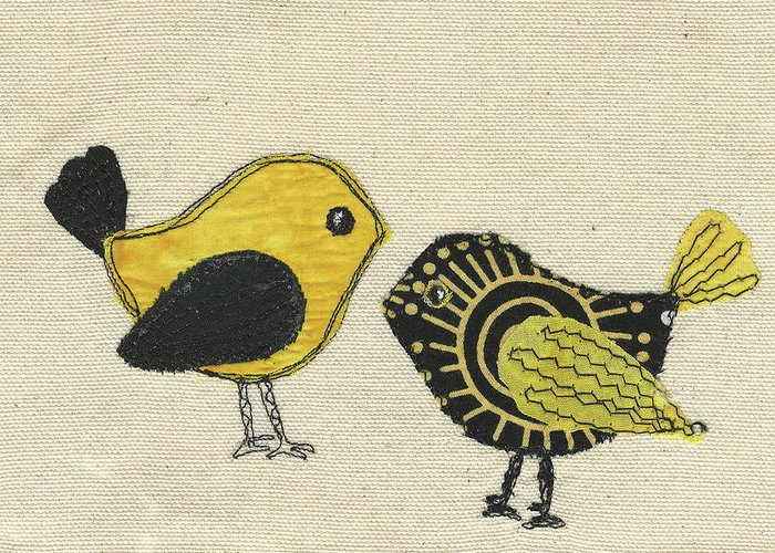 Whimsical Birds Greeting Card featuring the tapestry - textile Whimsical Bird 2 by Dolores Fegan