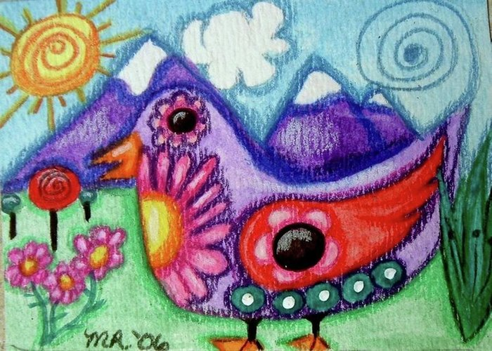 Whimsical Greeting Card featuring the painting Whimsical Bird by Monica Resinger