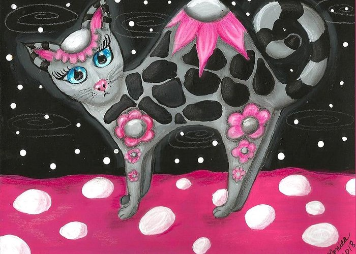 Pink Black Whimsical Kitty Cat Polka Dot Grey Blue Eyes Painting Colorful Vibrant Fun Greeting Card featuring the painting Whimsical Black Pink Floral Kitty Cat by Monica Resinger