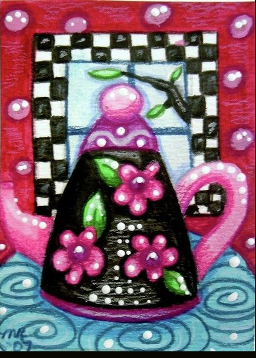 Tea Greeting Card featuring the painting Whimsical Black Teapot With Pink Flowers by Monica Resinger