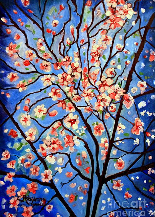 Cherry Blossoms Greeting Card featuring the painting Whimsical by Elizabeth Robinette Tyndall