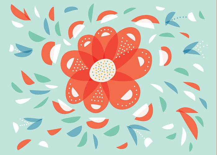 Floral Greeting Card featuring the digital art Whimsical Red Flower by Boriana Giormova