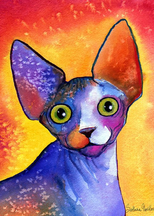 Sphynx Cat Picture Greeting Card featuring the painting Whimsical Sphynx Cat Painting by Svetlana Novikova