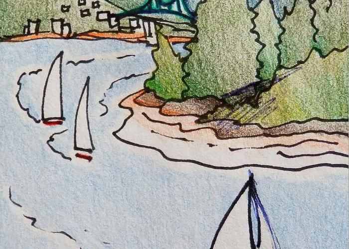 Lions Gate Bridge Drawings Greeting Cards