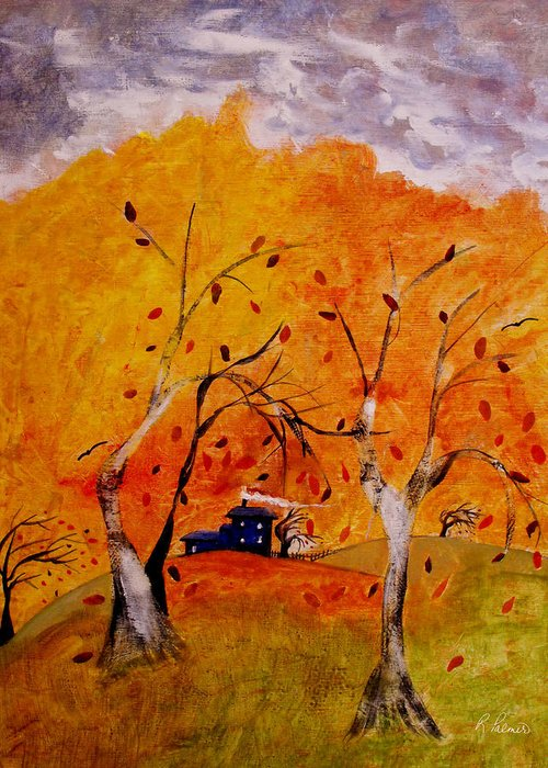 Abstract Greeting Card featuring the painting Whimsical Wind by Ruth Palmer