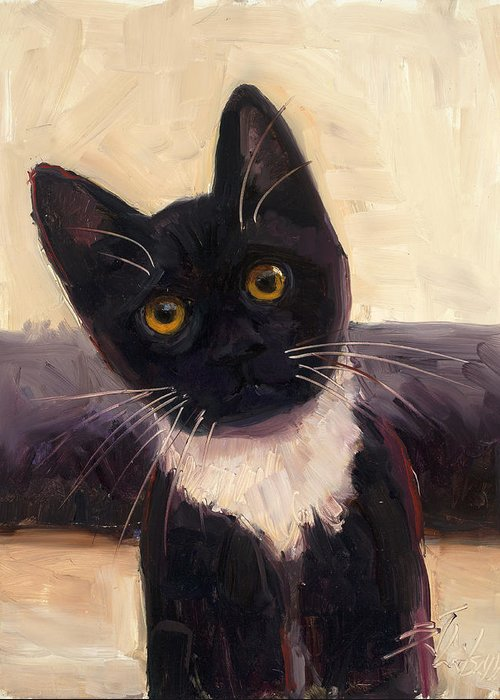 Tuxedo Cat Greeting Card featuring the painting Whiskers by Billie Colson