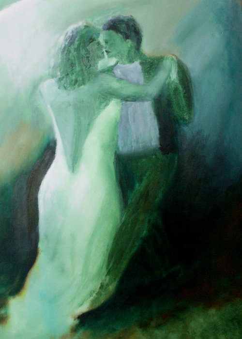 Dance Greeting Card featuring the painting Whispered Passion by Keith Thue