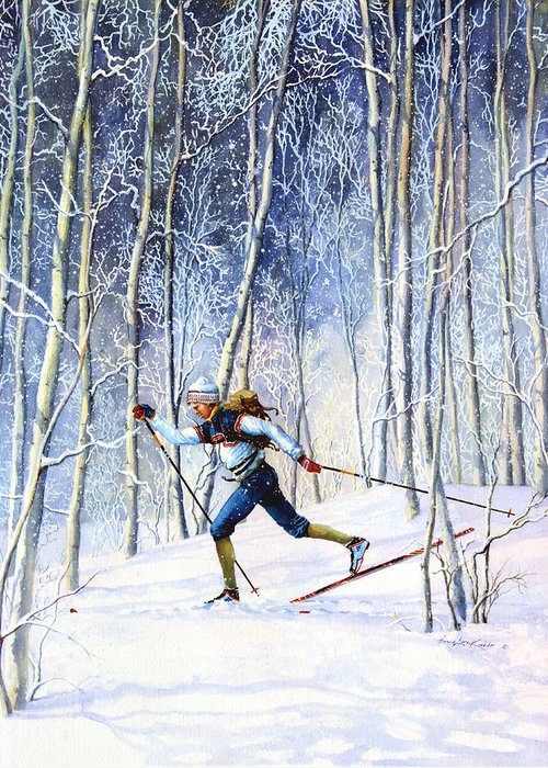 Sports Artist Greeting Card featuring the painting Whispering Tracks by Hanne Lore Koehler