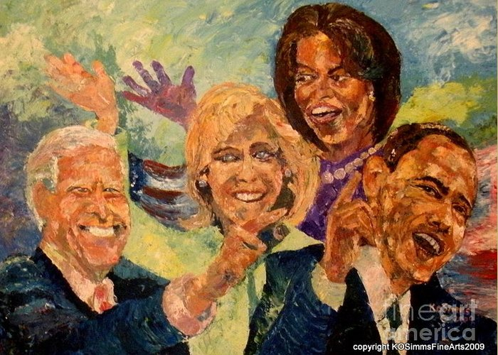 Greeting Card featuring the painting Whistle Stop Tour Usa 2008 by Keith OBrien Simms