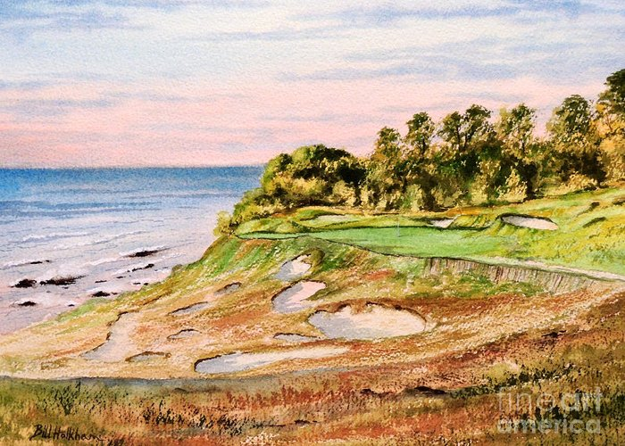 Golf Greeting Card featuring the painting Whistling Straits Golf Course 17th Hole by Bill Holkham