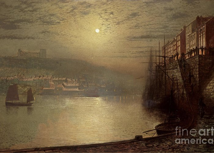 Whitby Greeting Card featuring the painting Whitby by John Atkinson Grimshaw