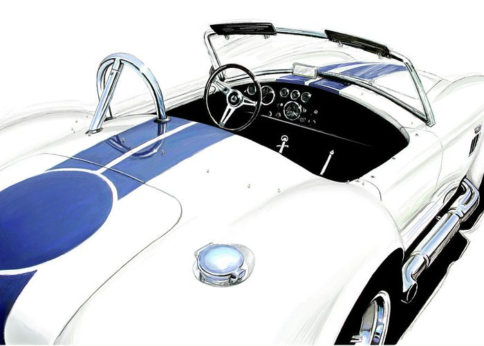 Jaguar Greeting Card featuring the digital art White Ac Cobra by David Kyte