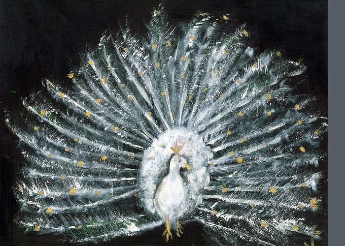 Peacock Greeting Card featuring the painting White And Gold Peacock by Michela Akers