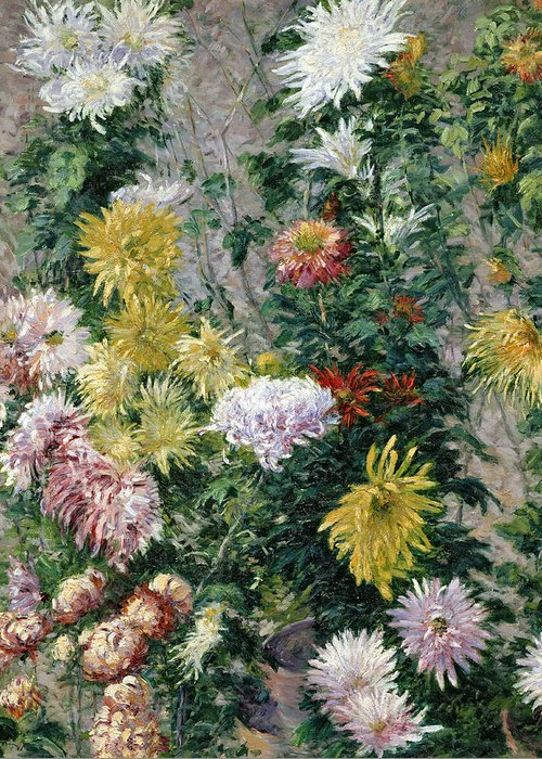 White Greeting Card featuring the painting White And Yellow Chrysanthemums by Gustave Caillebotte
