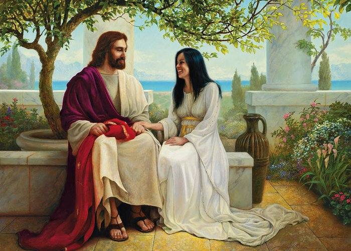 Jesus Greeting Card featuring the painting White As Snow by Greg Olsen