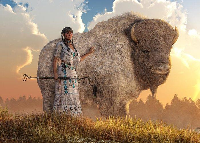 White Buffalo Calf Woman Greeting Card