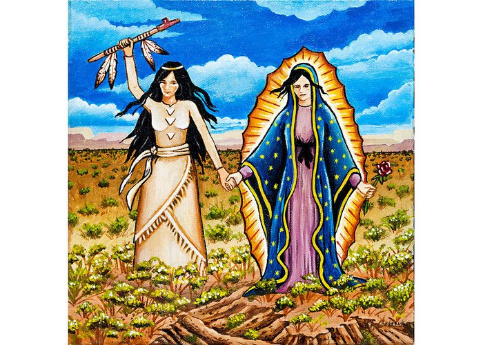 White Buffalo Woman Greeting Card featuring the painting White Buffalo Woman And Guadalupe by James RODERICK