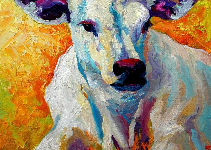 Western Greeting Card featuring the painting White Calf by Marion Rose