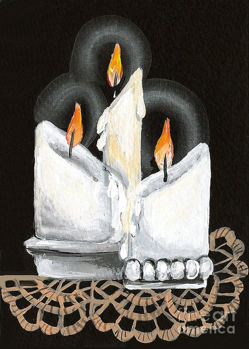 Candles Greeting Card featuring the painting White Candle Trio by Elaine Hodges
