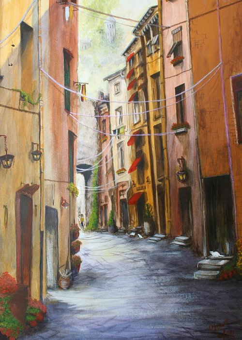 Street Greeting Card featuring the painting White Cat Lane by Jan Lowe