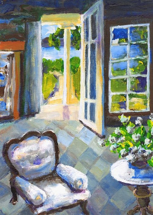 Nantucket Greeting Card featuring the painting White Chair Nantucket by Randy Sprout