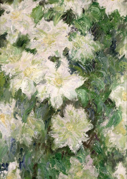 White Clematis Greeting Card featuring the painting White Clematis by Claude Monet