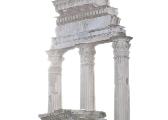 Roma Greeting Card featuring the photograph White Columns Temple Of Castor And Pollux In The Forum Rome Italy by Andy Smy