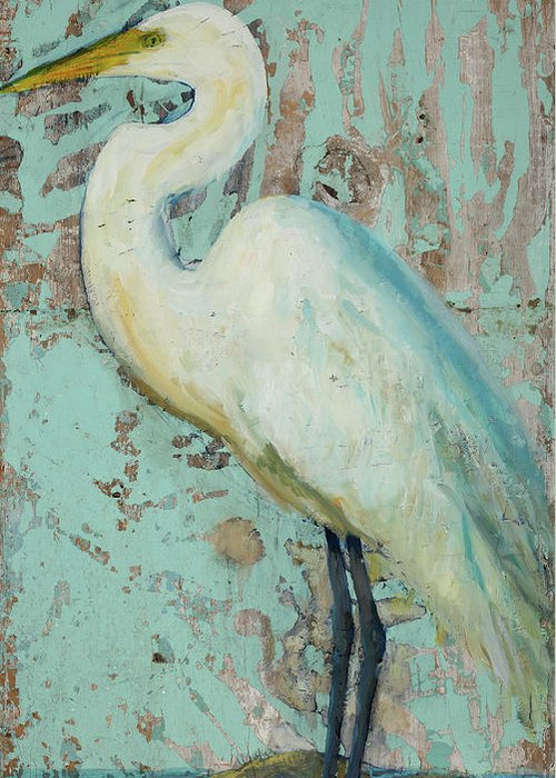 Crane Greeting Card featuring the painting White Crane by Billie Colson