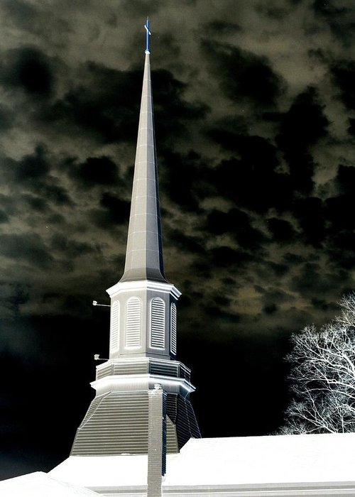 Church Greeting Card featuring the photograph White Cross Dark Skies by Joshua House