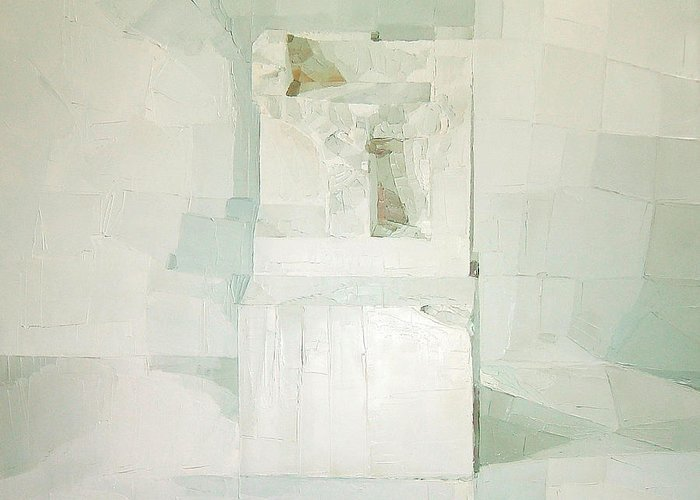 White (oil On Canvas) Cube; Geometric; Abstract; Form; Shape; Pure; Relief; 3-d; Three-dimensional; Painting; Solitude; 3 D; Three Dimensional; Abstraction; Mathematics; Damaged; Chair; Stone; Square Greeting Card featuring the painting White by Daniel Cacouault