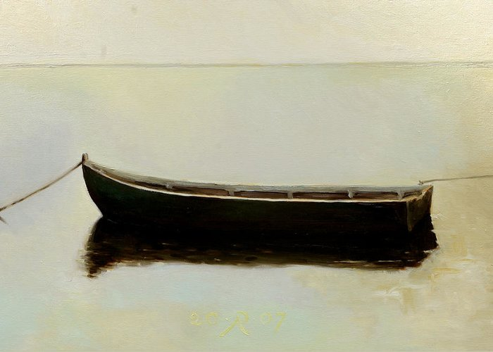 Landscape Boat Quiet Light Greeting Card featuring the painting White Day by Raimonda Jatkeviciute-Kasparaviciene