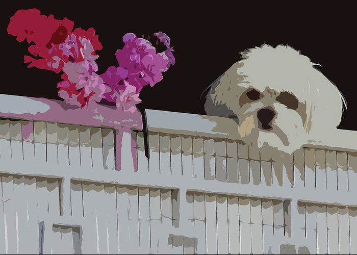 White Dog Greeting Card featuring the photograph White Dog And Red Flowers by James Hill