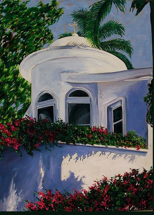 Dome Greeting Card featuring the painting White Dome by Karen Doyle