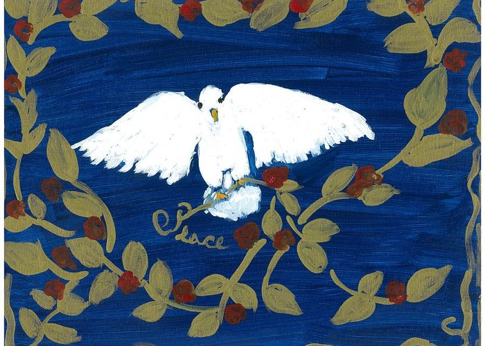 Dove Greeting Card featuring the painting White Dove by Rosemary Mazzulla