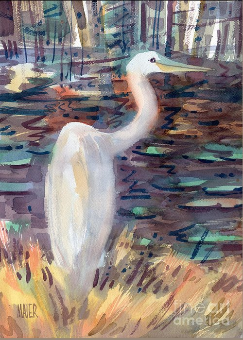 White Egret Greeting Card featuring the painting White Egret by Donald Maier