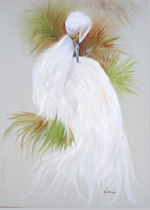 Animal Greeting Card featuring the painting White Egret by Sherry Winkler