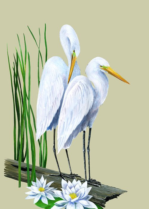 Egret Greeting Card featuring the painting White Egrets And White Lillies by Kevin Brant