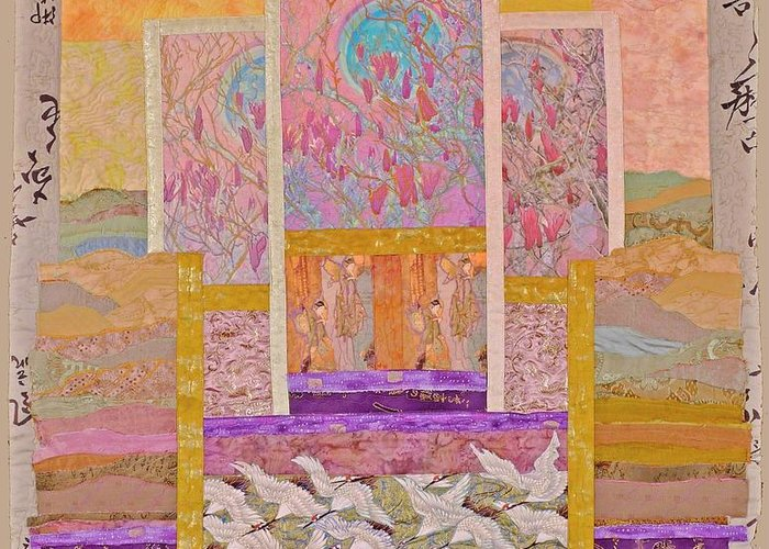 Quilt Greeting Card featuring the tapestry - textile White Egrets With Magnolies by Roberta Baker
