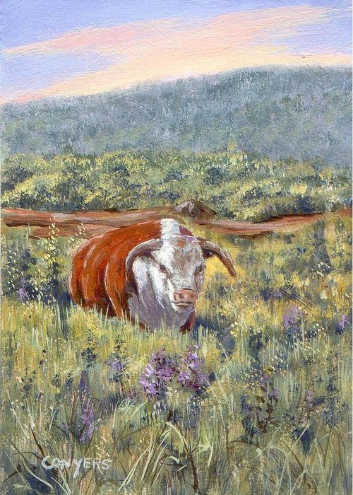 Hereford Bull Greeting Card featuring the painting White Face Bull by Peggy Conyers