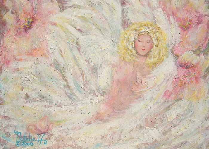 Angel Greeting Card featuring the painting White Feathers Secret Garden Angel 4 by Natalie Holland