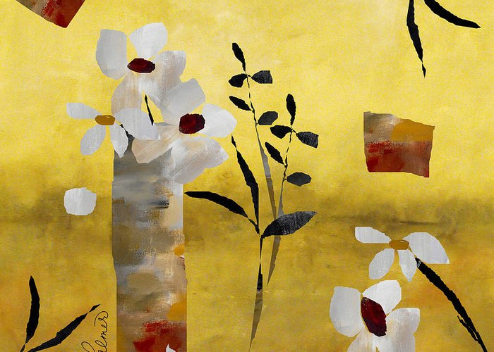 Abstract Greeting Card featuring the painting White Floral Collage by Ruth Palmer
