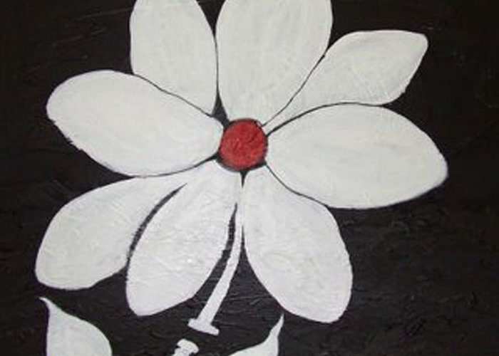 Contemporay Greeting Card featuring the painting White Flower by Rusty Gladdish
